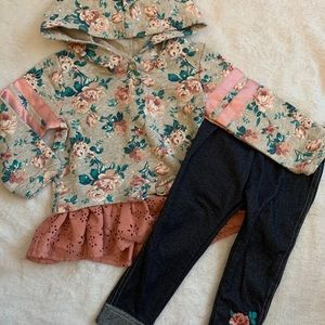 Little lass floral hoodie with matching jeans